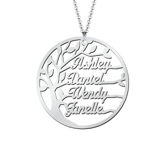 Family Tree Cutout Necklace