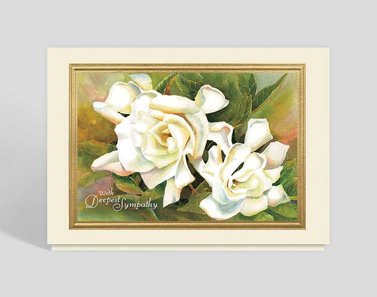 Serene Gardenia Sympathy Card - Greeting Cards