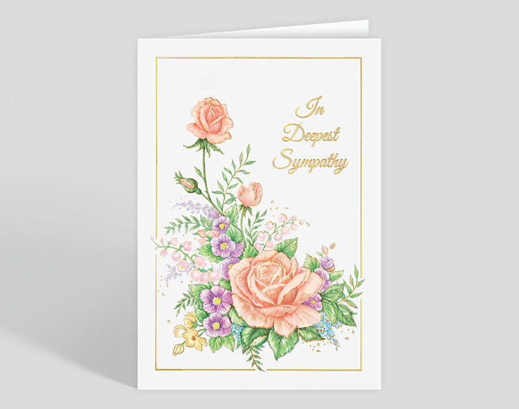 Deepest Sympathy Florals Card - Greeting Cards