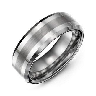Men's Brushed Centre Stripe Polished Tungsten Ring