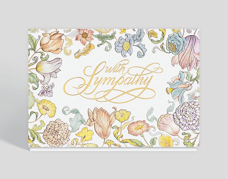 Floral Border Sympathy Card - Greeting Cards