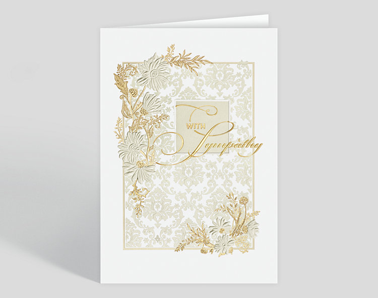Floral Damask Sympathy Card - Greeting Cards